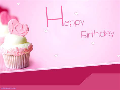 Free Pink Happy Birthday With Cake Backgrounds For Powerpoint Holiday Ppt Templates Happy Birthday Ppt Template