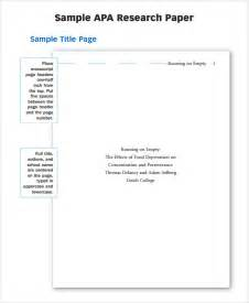 Apa Style Research Paper Exle by Research Paper Outline Template 9 Free