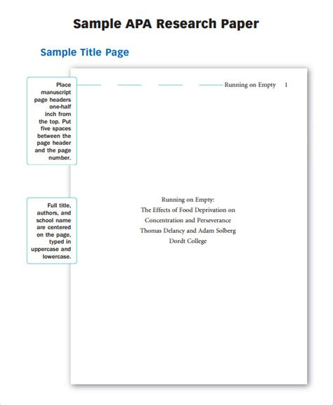 Apa Style Research Paper by 6 Paper Outline Sles Sle Templates