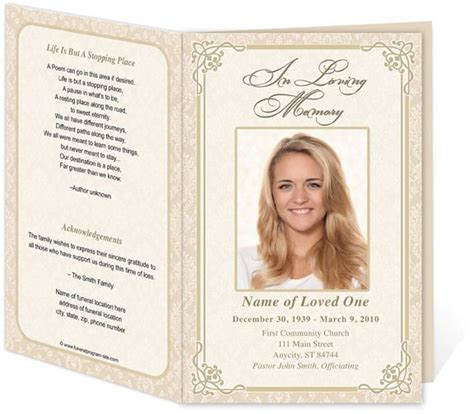 funeral program card template free edit print ready made program funeral
