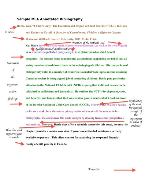 Sample mla annotated bibliography