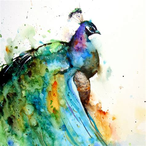 original watercolor painting peacock painting peacock peacock large watercolor print by dean crouser by