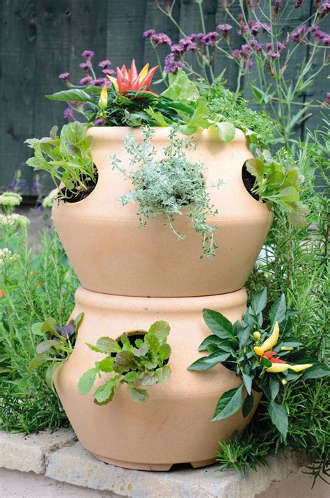 herb pots outdoor stackable strawberry and herb planters the green head