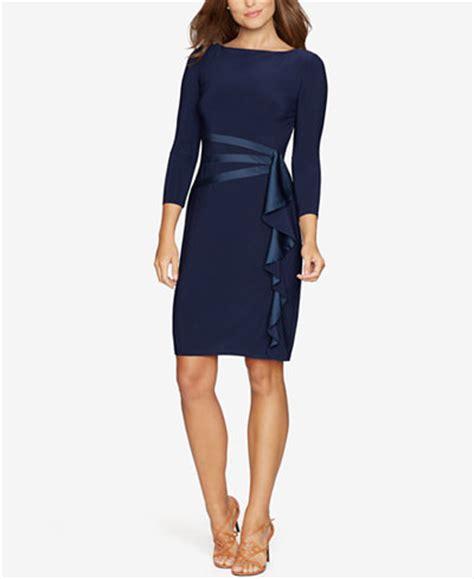 Satin Ruffles Dress american living satin ruffle sheath dress dresses macy s