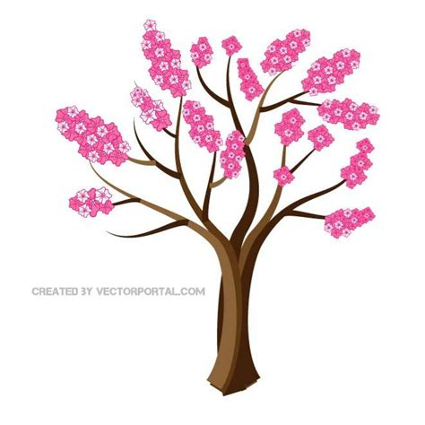 cherry tree vector cherry blossom tree free vector 123freevectors