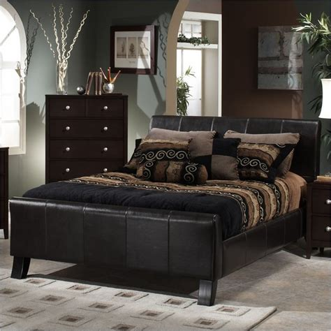 Brown Leather Bedroom Furniture Hillsdale Brookland Brown Leather Upholstered Sleigh Bed Contemporary Bedroom Furniture