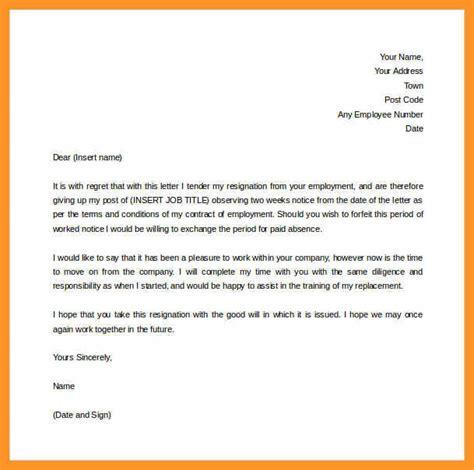 resignation letter 2 week notice pdf bio letter format