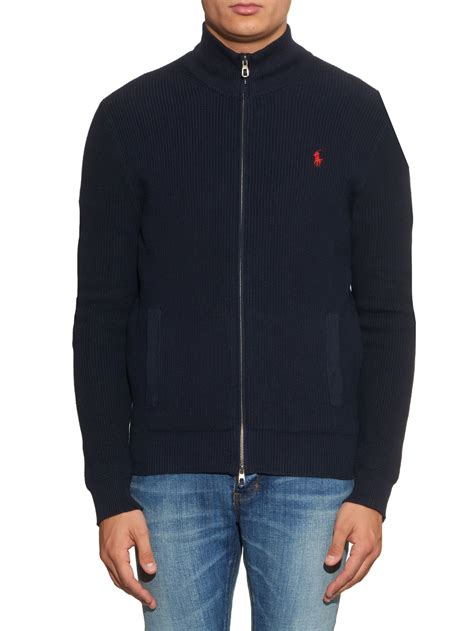 New Jaket Sweater Polos Hoodie Zipper Orange Oren polo ralph zip up ribbed knit cotton cardigan in blue for lyst