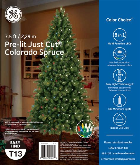 ge 9 ft pre lit led energy smart spruce artificial christmas tree 01667 ge just cut 174 colorado spruce 7 5 ft color choice 174 led 400ct 7mm lights warm white