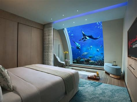 hotel room with aquarium wall underwater hotels that will let you sleep with the fishes