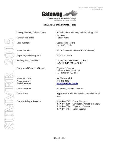 Umkc Biology Major Template Bio 135 Syllabus Smr 2015 Rev2
