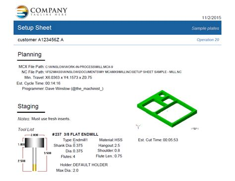 Cabinet Mill Free Activereports Template For Setup Sheets Industrial