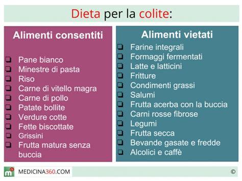 alimenti colite dieta per colite cibi da evitare ed alimentazione corretta