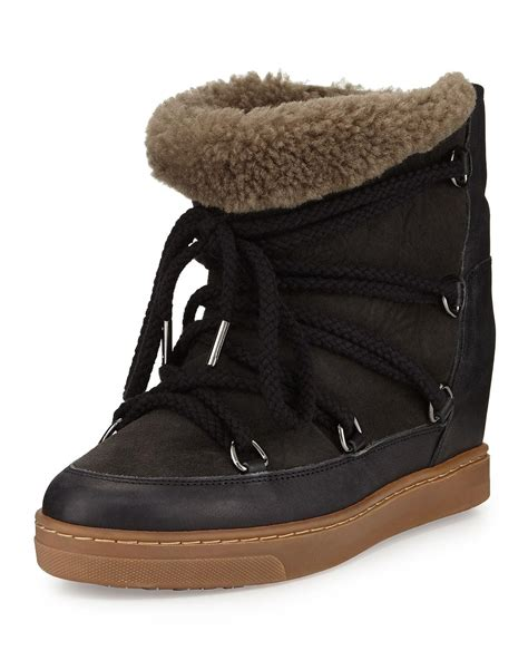 marant slippers marant nowles shearling fur lined ankle boot in