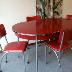 red chrome dining set images