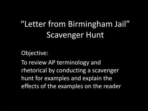 Letter From Birmingham Soapstone - ppt letter from birmingham scavenger hunt