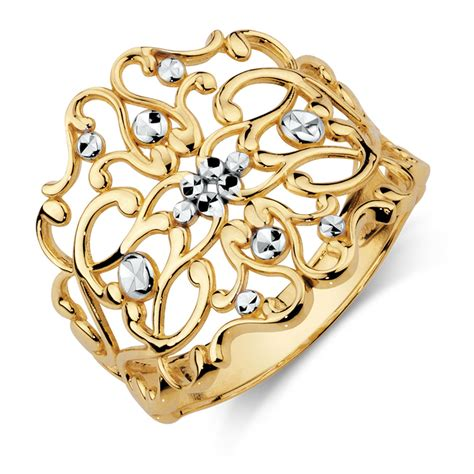 gold filigree filigree ring in 10kt yellow white gold