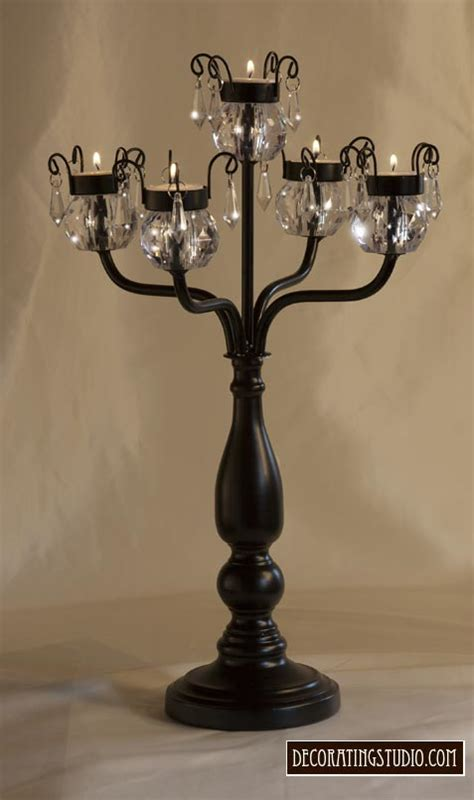 Black Candelabra Centerpieces Formal Black Crystal Candelabra Centerpiece