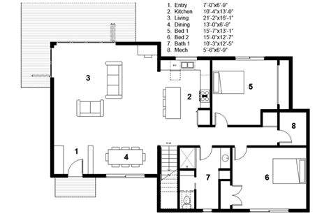 3 feet plan modern style house plan 3 beds 2 00 baths 2115 sq ft