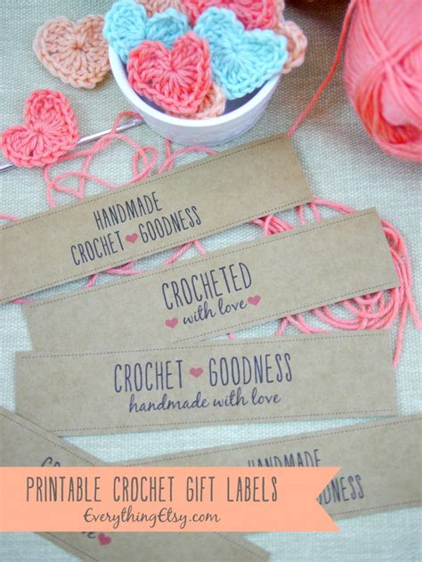 Handmade Labels For Crochet - free printable crochet gift labels everythingetsy