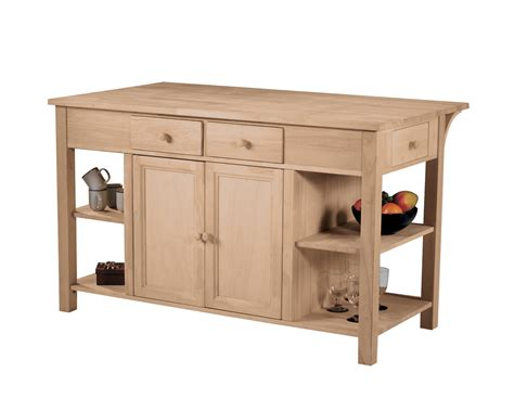 kitchen wood furniture unfinished super kitchen center w breakfast bar 60x34x36