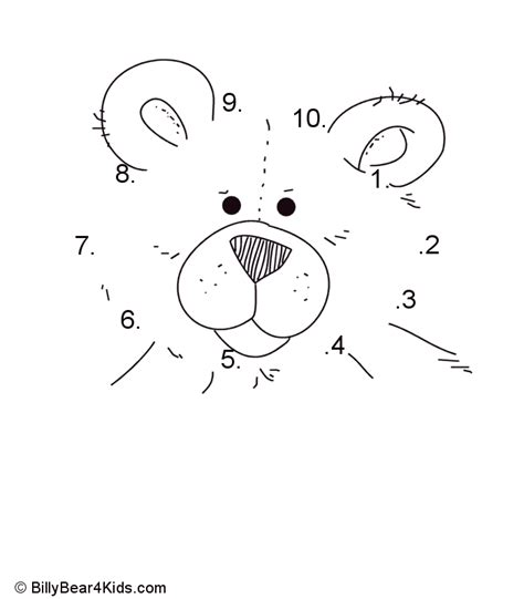 Connect The Dots Numbers 1 10 Printable | teddy bear dot to dot numbers 1 10 design pinterest