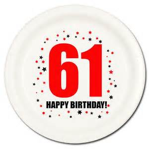 happy 61st birthday age 61 party supplies dessert cake plates
