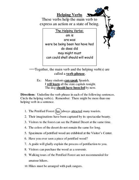 Helping Verb Worksheets by Helping Verbs Worksheet Fourth Grade Helping Verbs