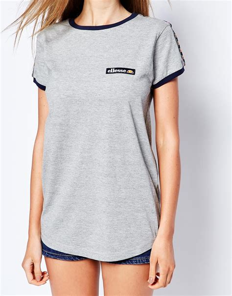 ellesse fitted retro t shirt with detail in gray lyst