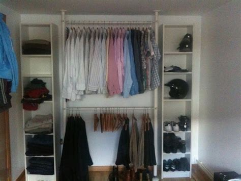bedroom without closet quick and easy wardrobe using ikea stolmen and billy