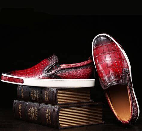 mens casual slip on fashion alligator sneakers