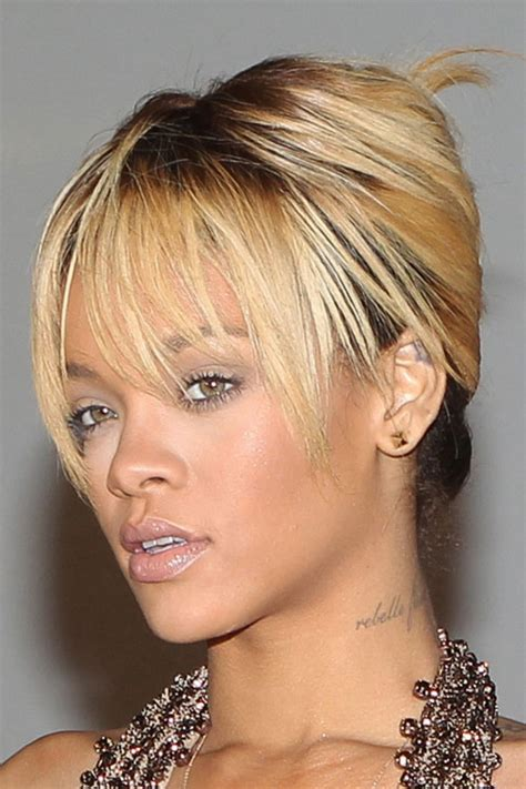 rihanna french twist updo hairstyle with wispy bangs rihanna straight golden blonde choppy bangs dark roots