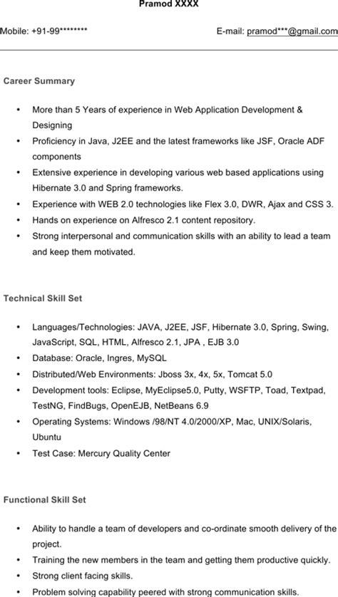 java j2ee resume sle resume ideas