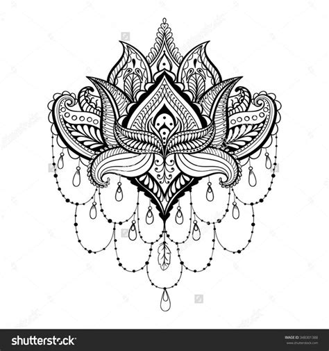 indian henna tattoo dublin stock vector vector ornamental lotus ethnic zentangled