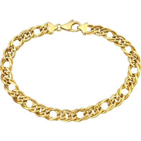 estate 18k italian gold curb link charm bracelet