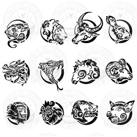 tattoo pictures zodiac signs chinese zodiac set new clip art sets pinterest