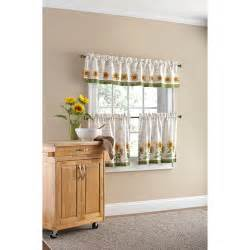 Walmart Curtains Kitchen Mainstays Sunflower 3 Kitchen Curtain Set Walmart