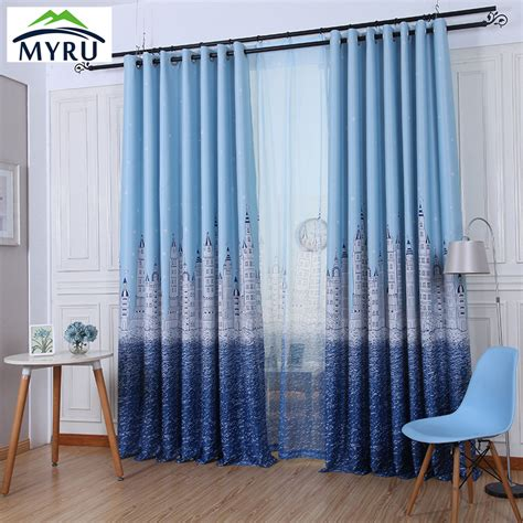 blue curtains for boys bedroom myru high quality blackout curtains cartoon castle window