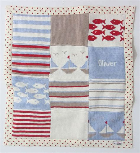 boats knitted baby blanket by smitten notonthehighstreet