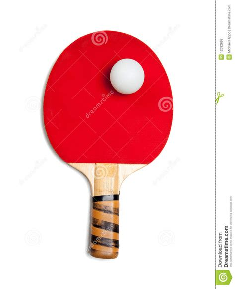 a red ping pong paddle with ball on white stock photo