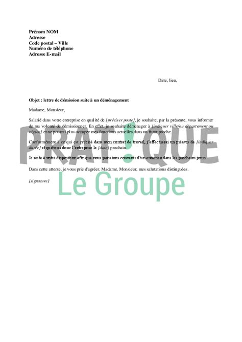 Lettre De Demission Entreprise lettre de d 233 mission pour cause de d 233 m 233 nagement pratique fr