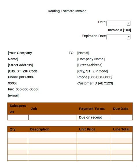 How To Plan Roofing Invoice Templates Roofing Template