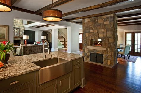 springs new home kitchen with fireplace new homes