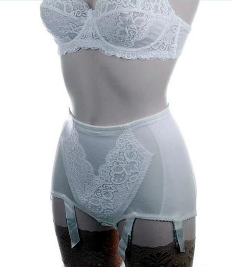 girdles with suspenders control panty girdle in ivory white with 6 suspender straps