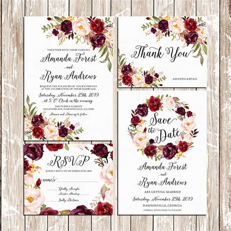 Pink Wedding Invitation Cards by Printable Wedding Burgundy Purple And Pink Invitation Set Boho
