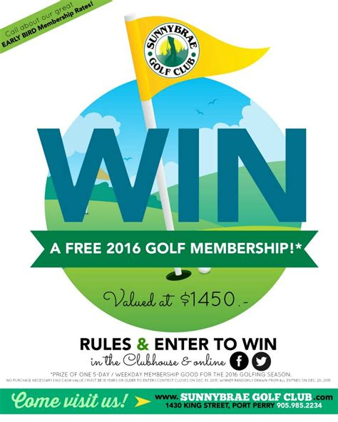 Golf Club Giveaway - win a free sunnybrae golf club membership