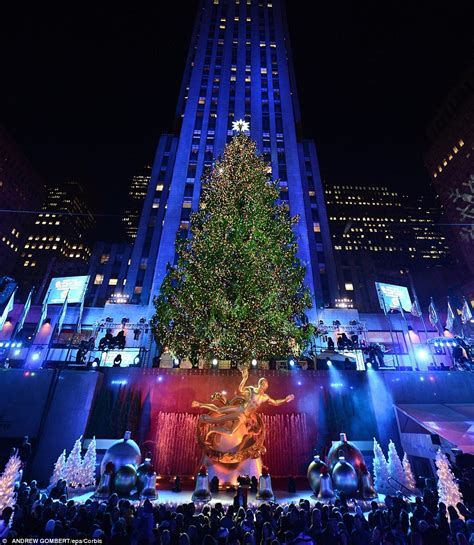 collection lighting the christmas tree in rockefeller