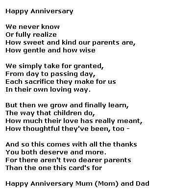 Wedding Anniversary Poems For Parents by Poetry For All Poems On Parents