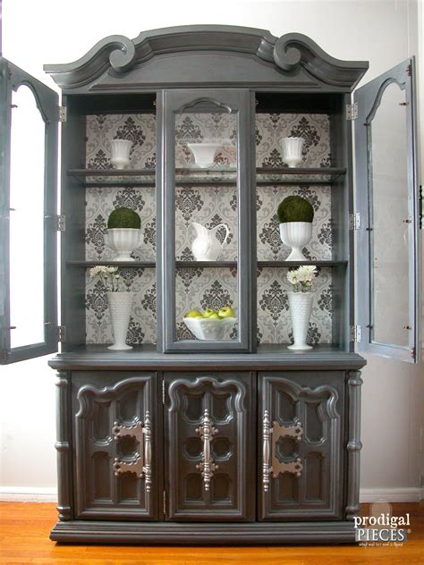 how to display china in a cabinet china cabinet makeover with wallpaper prodigal pieces