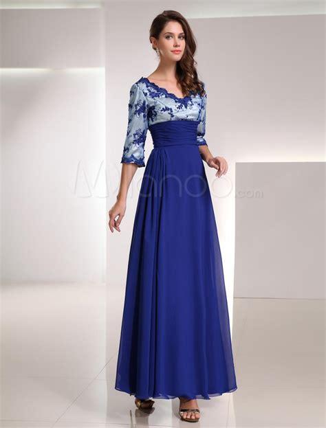 imagenes de vestidos de novia con media manga foto azul real gasa encaje con cuello en v media manga